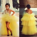 2017 Yellow Ball Gown Flower Girl Dresses Sheer Tank vestido longo For Wedding Party Appliques Beading Girls Pageant Dress M996