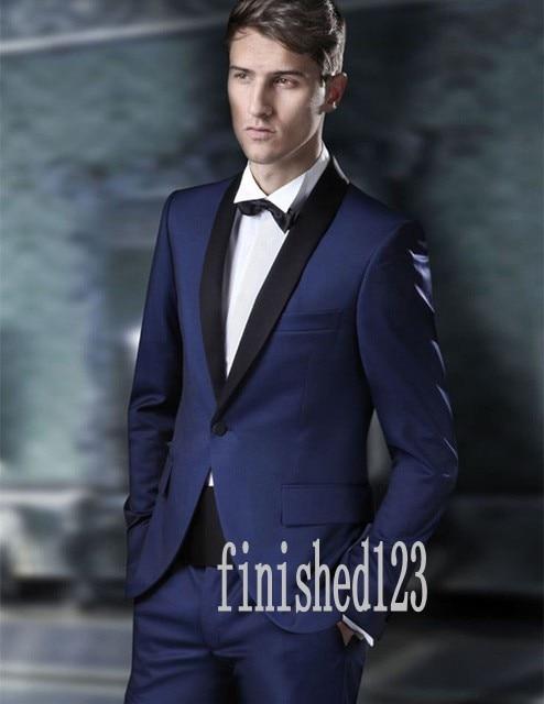 115649721883 De alta Qualidade em Um Botão Azul Marinho Noivo Smoking homens Padrinhos  de Casamento Prom Ternos Feitos sob medida (Jacket + Pants + cinto + Tie)  K: 97