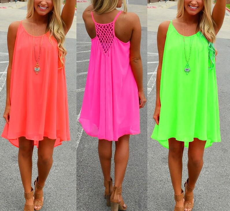 9d6adb55982de Women beach dress Fluorescence summer dress chiffon female women dress 2016  summer style vestido plus size women clothing
