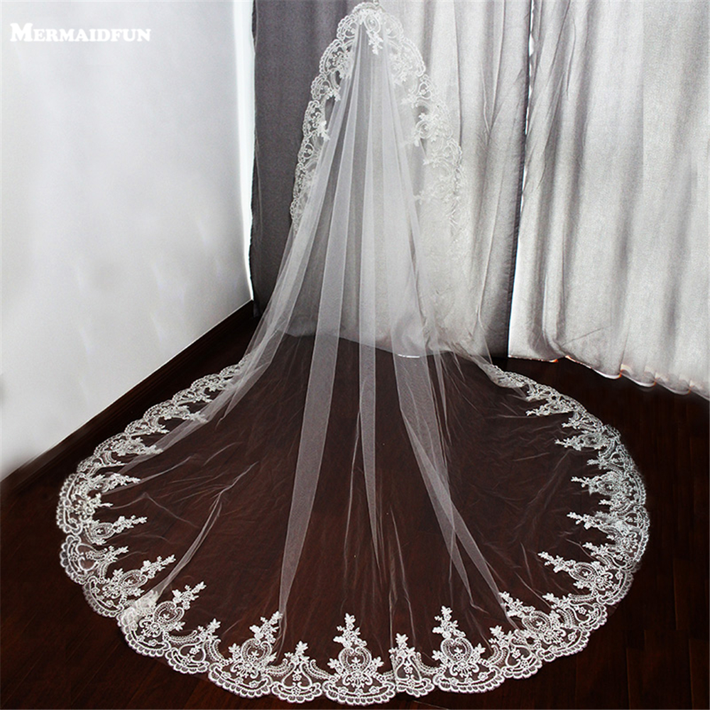 One Layer Lace Edge Wedding Veil For Bride 2019 Wedding Accessories White Ivory Long Bridal Veils