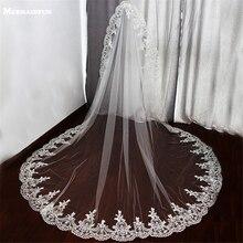 Tek katmanlı dantel kenar düğün duvağı için gelin düğün aksesuarları beyaz fildişi uzun gelin peçe