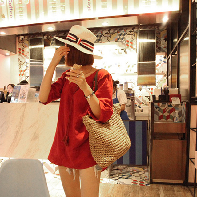 Women Handbag Summer Beach Bag Rattan Woven Handmade Knitted Straw Large Capacity Totes Leather Women Shoulder Bag Bohemia New 1
