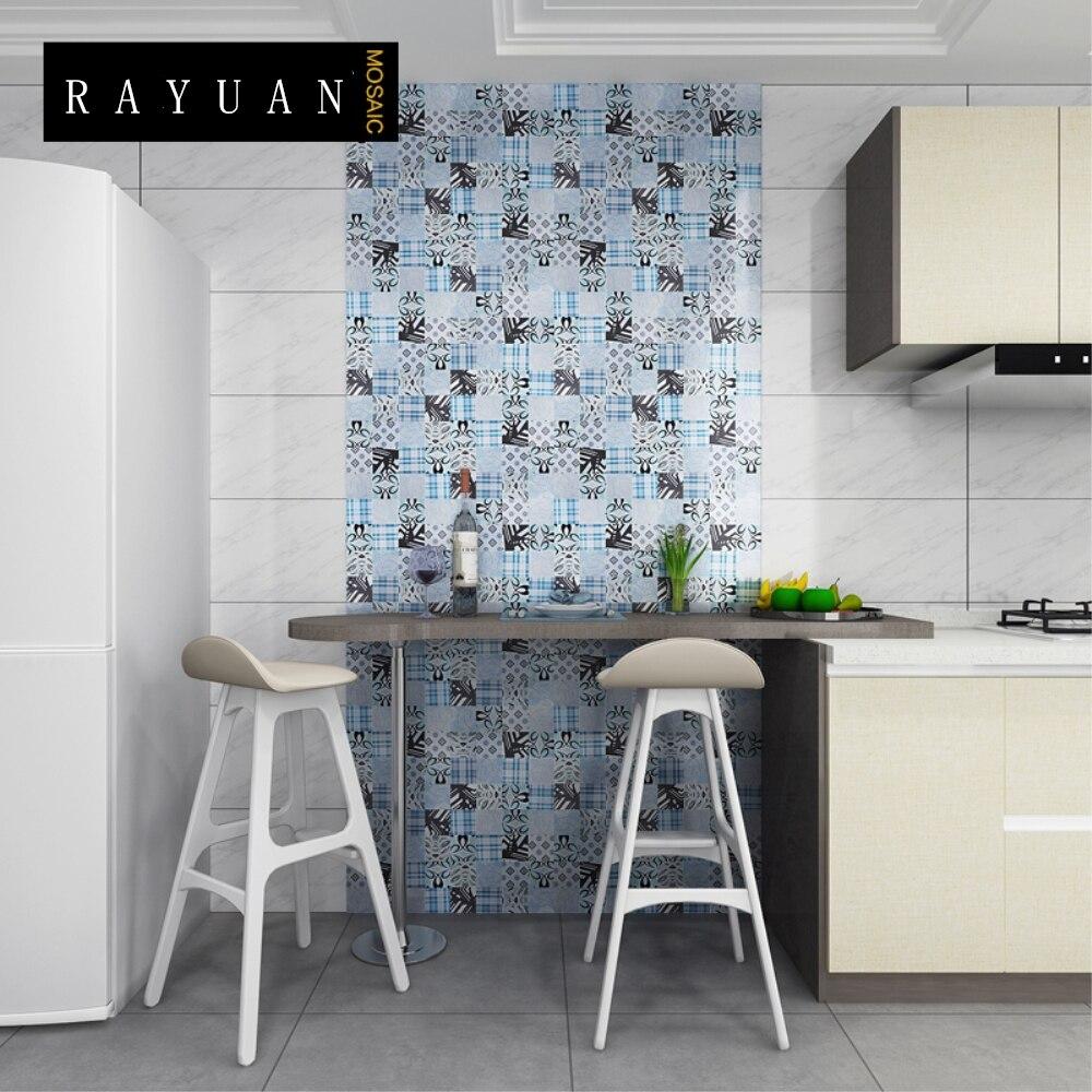 US $35.99 |RAYUAN 4PCS Mosaic Wall Sticker Aluminum Composite Wall Panel  Kitchen Heat Resistance Board Wall Tile Mural Wallpaper 30x30CM-in Wall ...