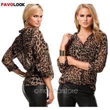 2018 Women Blouse Leopard Print Shirt Long sleeve  Top Loose Blouses Plus Size Chiffon Shirt Camisa Feminina Clothing