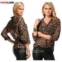 2019 blusa de mujer con estampado de leopardo Camisa de manga larga blusas sueltas talla grande Camisa de gasa ropa femenina
