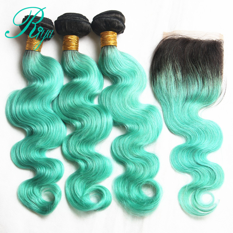 Riya Hair Preuvian Body Wave Hair 1B/ Light Green 2 Tone Color 3/4 Hair Weft With 4*4 Lace Closure Remy Hair Bundles