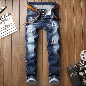 Image 2 - European American Style luxury quality Mens slim jeans pants famous brand mens Pencil Pants Straight blue hole jeans for men