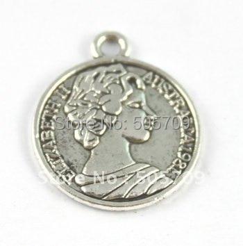 180 шт. тибетский серебряный Элизабет монета очарование A15742