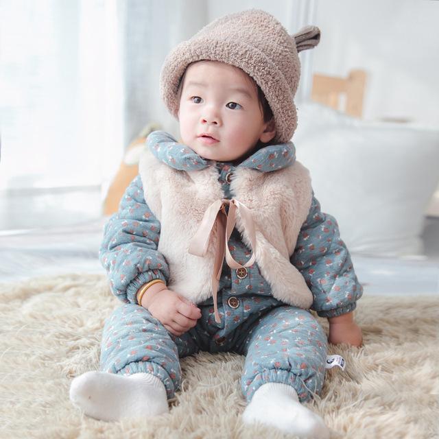 Estilo marca invierno gruesa caliente bebé mamelucos del bebé niñas bebés mono mamelucos del bebé recién nacido ropa de algodón prendas de vestir exteriores 3-24 M