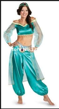 Cheap custom-made princess jasmine costume/Aladdin Jasmine Deluxe Costume halloween costume christmas clothing Принцесса Жасмин