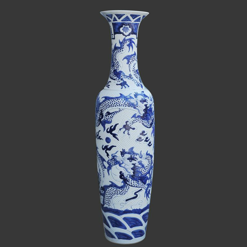 180cm Height Carving Blue And White Porcelain Dragon Super