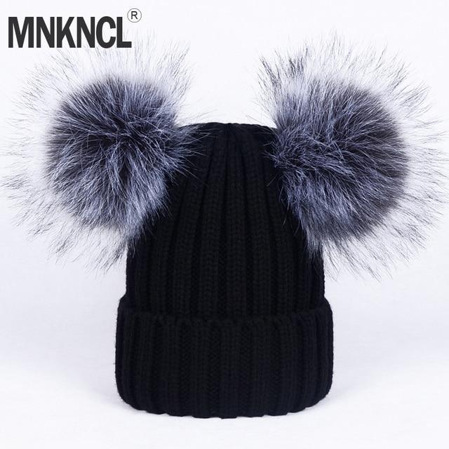 d07025b25ea Winter Fur Ball Cap 2 Pom Poms Winter Hat For Women Girl  S Hat Knitted  Cotton Pom Poms Skullies Beanies Thick Female Warm Hat