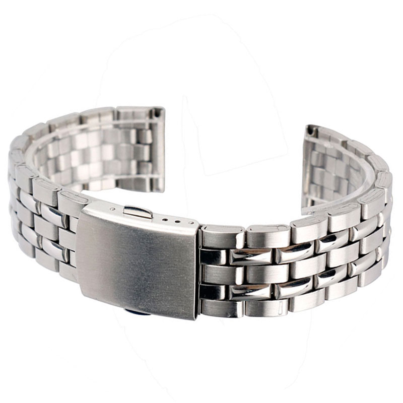 18mm Silver Width Stainless Steel Mesh Watchstrap With Fold over clasp with push button With 2 Spring Bars GD010518