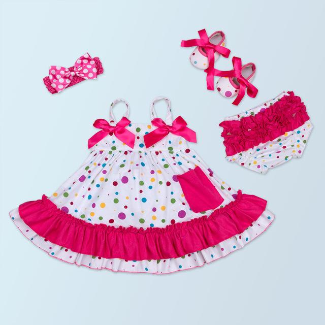 Recém-nascidos Conjuntos de Roupas Menina do Verão Da Listra Suspensórios Rendas dot Vestido + PP calça + Sapatos + Headband do 4 pcs Menina Roupa Dos Miúdos Conjuntos