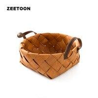 Creative Bamboo Handmade Weaving Storage Basket For Food Fruit Tabletop Tea Cups Flowers Picnic Handle Basket