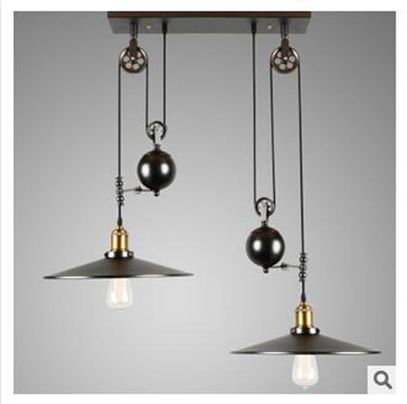 2 head nordic industrial style creative pendant light vintage iron 2 head nordic industrial style creative pendant light vintage iron pulley hanging lamp barcafe adjustable pendant light fixture in pendant lights from mozeypictures Gallery