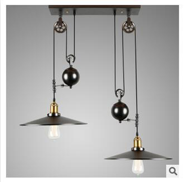 2 head nordic industrial style creative pendant light vintage iron 2 head nordic industrial style creative pendant light vintage iron pulley hanging lamp barcafe mozeypictures Image collections