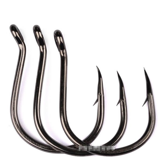 100Pcs Hi-Carbon Steel Barbed Hook Sharpened Kudako Power Jigging Single Hook Tackle 1/0-6/0# Saltwater Freshwater Fishhooks