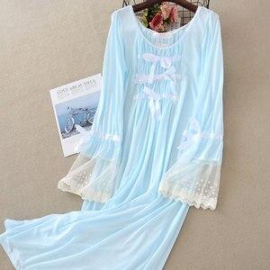 Image 4 - Camisón de encaje de verano para mujer, ropa de dormir de manga larga, color sólido, de talla grande, con cuello redondo, Sexy