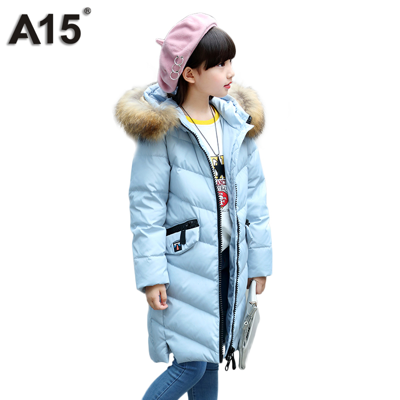 A15 Children Duck Down Coat Long Winter Warm Jacket Girl Clothes Winter Coat Toddler Fur Outdoor Clothing Kids Teen 6 8 10 12 14 girl duck down jacket winter children coat hooded parkas thick warm windproof clothes kids clothing long model outerwear