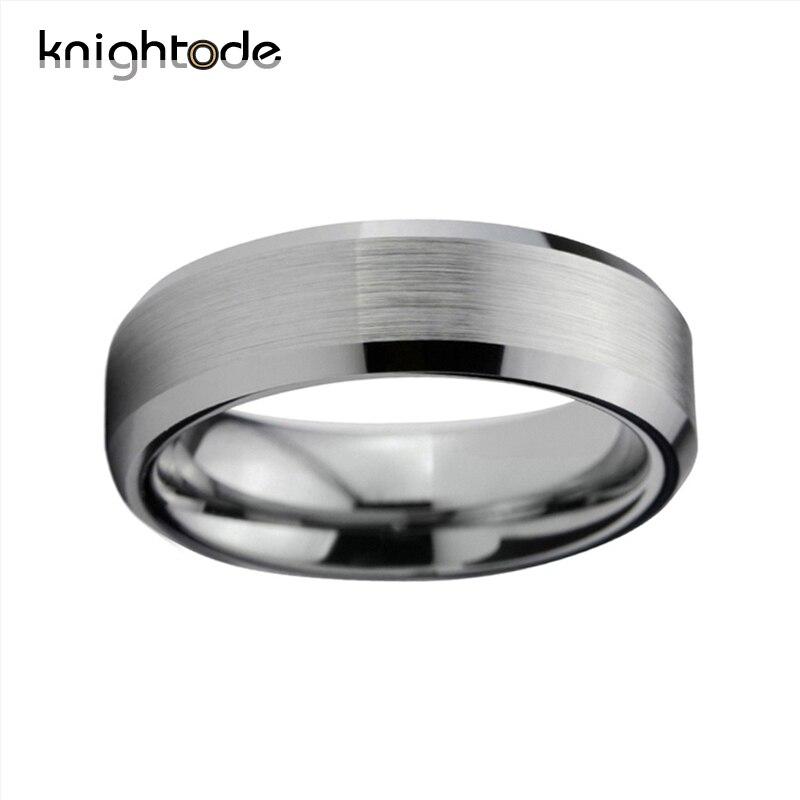 Image 2 - Tungsten Wedding Bands For Men Titanium Color Ring Comfort Fit Brushed Finish Beveled EdgesWedding Bands   -