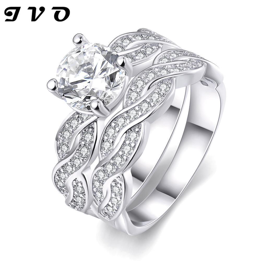women wedding rings set white gold filled aaa cubic zirconia engagement rings bridal set wedding bands - Wedding Ring Set For Women