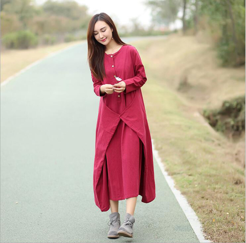 Women Autumn Dresses Patchwork Vintage Cotton Linen plus size Long Sleeve 2018 New O Neck Casual Loose Dresses RED wine color