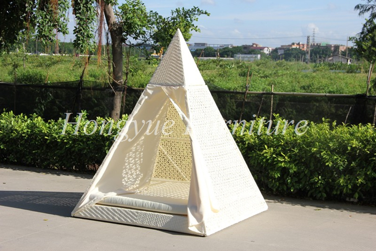 diamond shape white rattan outdoor daybed with canopy furniture
