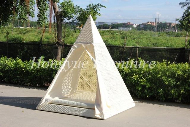 Forma de diamante blanco muebles de mimbre al aire libre sofá-cama con dosel