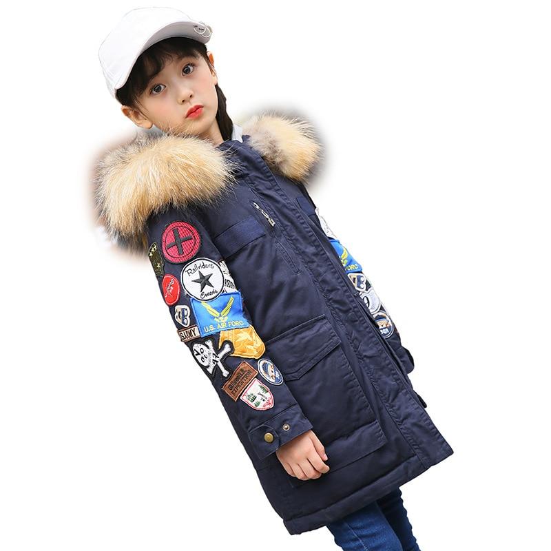 Girls Patchwork Down Parkas Children Fashion Streetwear Padding Coat Teenage Winter Hooded Warm Cotton Outerwear Down AA51892