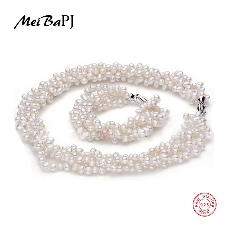MeiBaPJ 925 Silver 100 White Natural Freshwater pearl Jewelry Sets Real pearl Necklace Bracelet Jewelry