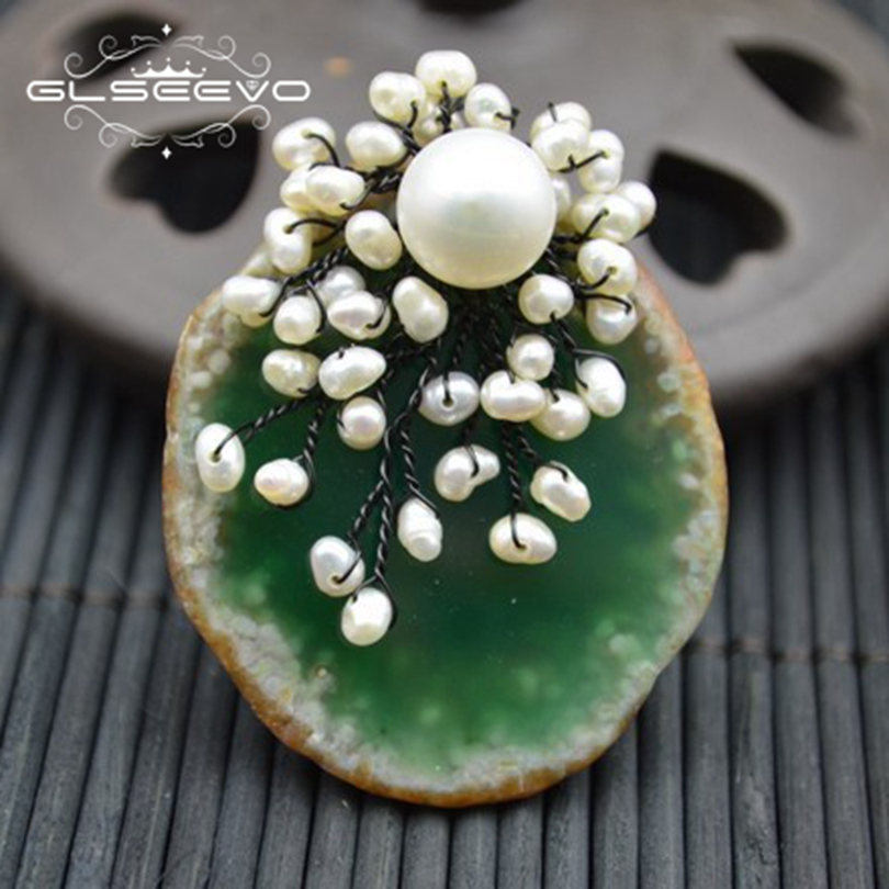 GLSEEVO Natural Green Agate Brooch Pins Fresh Water Pearl Brooches For Women Wedding Dual Use Designer Luxury Jewelry GO0290