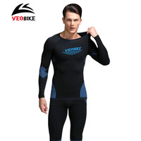 VEOBIKE Men Bike Thermal Underwear Set Winter Warm Long Women Sports Compression Underwear Top Pants Bicycle