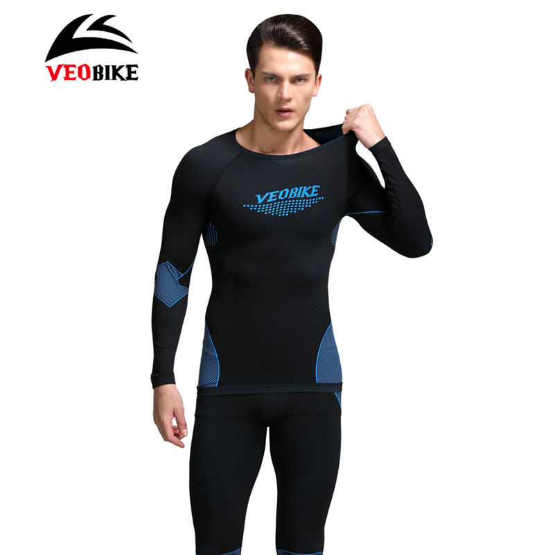 VEOBIKE Men Bike Thermal Underwear Set Winter Warm Long Women Sports Compression Underwear Top Pants Bicycle Cycling Base Layers