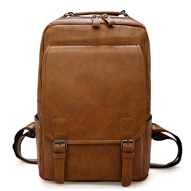 Vintage Men Backpack Waterproof Khaki PU Leather Travel Bag Man Big Capacity Male Mochila Laptop Bag Teenager Backpacks