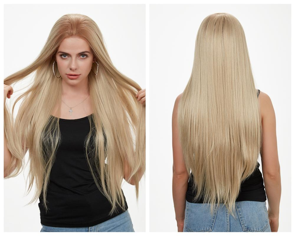 HANNE Swiss Lace Front Wig Long Straight Ash Blonde Ombre Synthetic Wigs For Black Or White Women Halloween Cosplay Or Party Wig