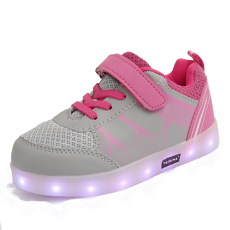 Eur25-37// USB charging children basket led shoes kids with lights up glowing lighted shoes for girls&boys luminous sneakers
