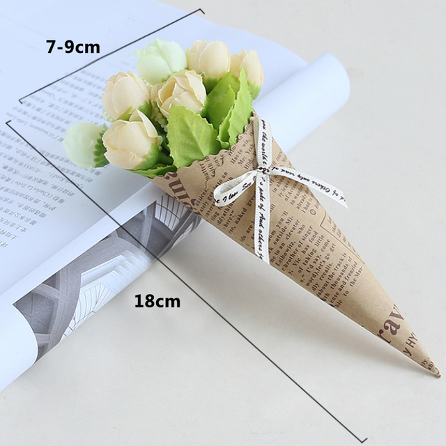 New Mini Paper tube Artificial Plants Wedding Flower Photo props bouquet flowers Birthday Present Home Decoration Fake Flowers 2