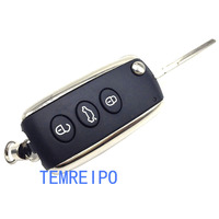 Modified flip key shell for bentley 3 buttons remote key blank replacement folding key case cover