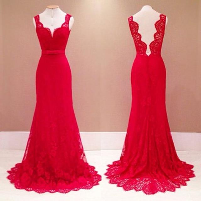 Tiefem v ausschnitt spitze kleider rote elegante hohe taille ...