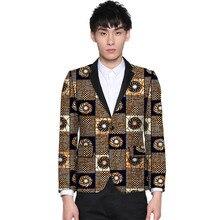 цена African print men blazers dashiki print suit jacket customized man Ankara outfit for party/wedding male formal wear онлайн в 2017 году