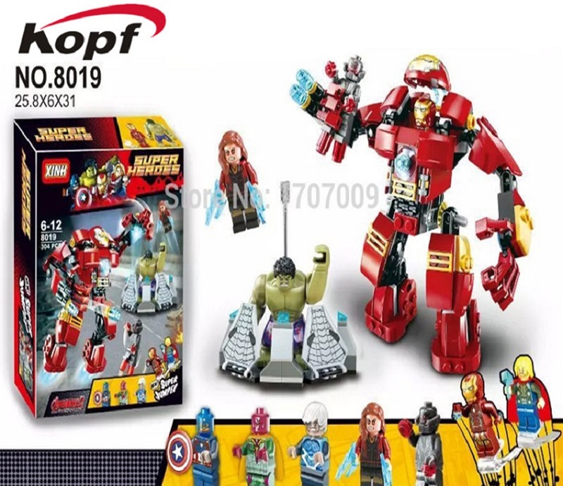 Building Blocks Single Sale Avengers 2 Age Of Ultron Big Ironman Iron Man Hulk Buster Super Heroes Toys for children XH 8019 super heroes ultron figures iron man hulk buster batman captain america vision building blocks bricks toys for children xh 8019