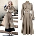 Mulheres Double Breasted Trench Coat 2017 Primavera Outono Moda Casual Outerwear Elegante Plissada Clássico Blusão Com Cinto