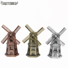 GQIYIBBEI  European Retro Metal Crafts Netherlands Windmill Model Home Decoration Office table Bedroom Ornaments Minitype