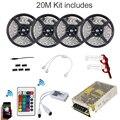 20 m RGBW WIFI RGB Led Strip Impermeável 5050 IP65 tiras + Modo de música Timmer Controlador Remoto + 12 V Power Adapter + Amplificador Kit