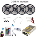 20m RGBW RGB WIFI Led Strip Waterproof 5050 IP65 tiras + Music Timmer Mode Remote Controller + 12V Power Adapter + Amplifier Kit