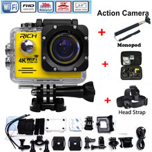 HD Action Camera wifi for rich Extreme Sports cam Video 1080P 30m Waterproof sports camrea Extra head strap+bag+Monopod(China)