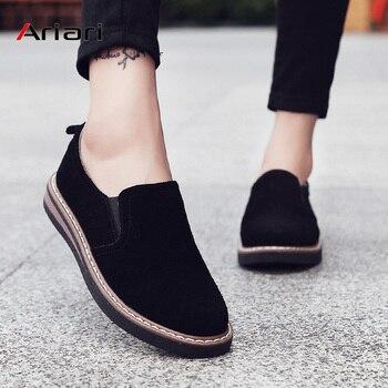 Ariari 2019 mocasines zapatos mujer slip-on zapatillas de cuero genuino zapatos para caminar mujeres ballet pisos oxfords mujeres zapatos Casuales