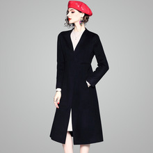 2019 Autumn And Winter New stylish Two-sided 100% Wool Overcoat Woolen Long Loose windbreaker woman trench winter 73631
