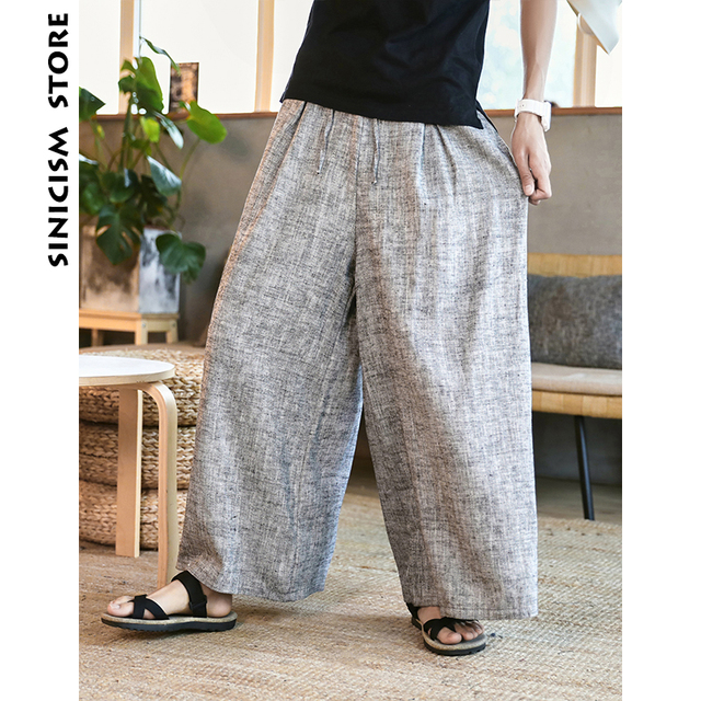Sinicism Store Man Cotton Linen Wild Leg Pant Men Casual Stripe Straight Flare Trousers 2020 Male Traditional Pants Trousers 29
